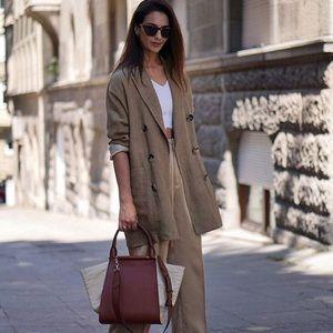NWT Zara Double Breasted Tan Linen Blazer/Dress